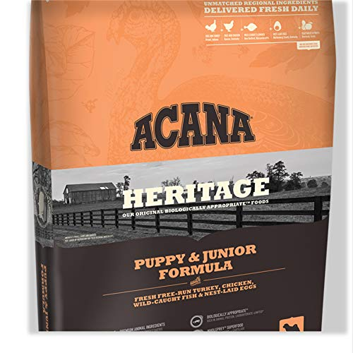 ACANA Heritage Puppy Junior Dry Dog Food, 25 LB. Bag with Fresh Free-Run Turkey, Chicken, Wild-Caught Fish NEST-Laid Eggs