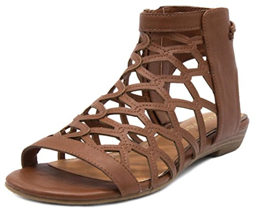Rampage Women's Savanna Demi Wedge with Honeycomb Cutouts and Zip Up Ankle High Gladiator Sandal 9.5 Cognac