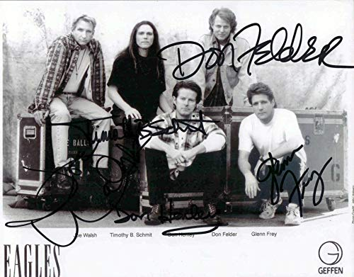 THE EAGLES ROCK BAND 8 X 10 AUTOGRAPH ON LOSSY PHOTO -