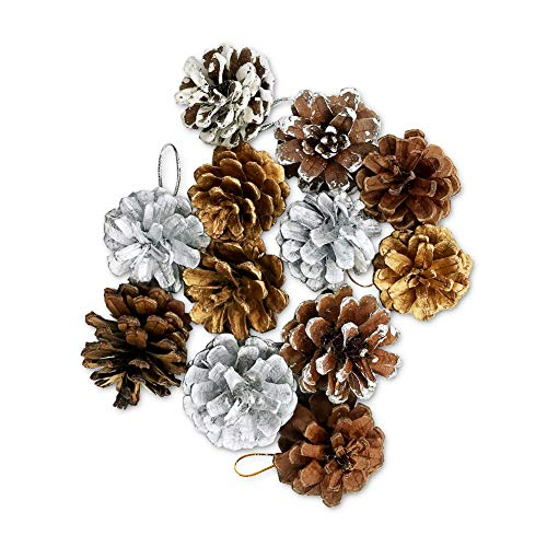 MSKEI Pine Cones, 12 Pcs Christmas Hanging Pinecone Ornaments Xmas Tree Ornaments Party Supplies