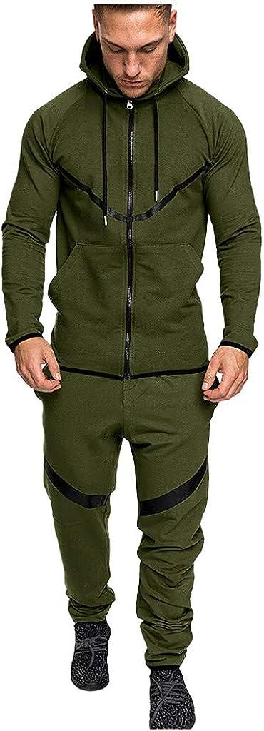 Mens Full Zip Hoodie Coats Sports Suit Fitness Running Joggers Pants Casual Tracksuit Sweatshirt