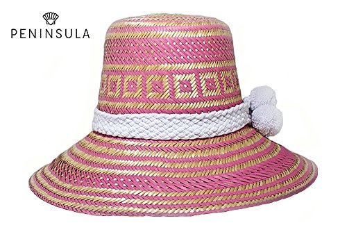 New Elegant New Style Hand-Knitted Wayuu Hand-Made Hat Pink Patterns and White Wool PomPoms (Pink) ()