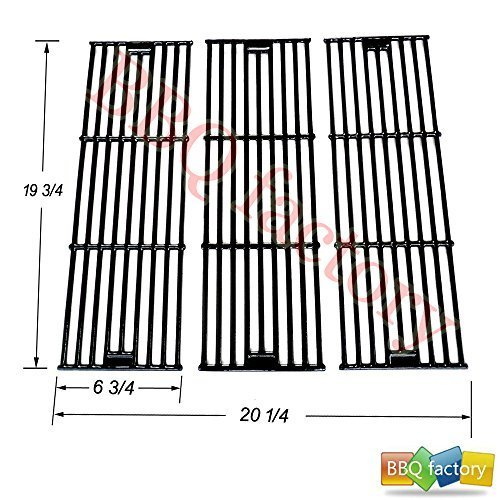 bbq factory Replacement Porcelain coated Cast Iron Cooking Grid Set (3-pack) Select Gas Grill Models By Chargriller,King Griller and Others