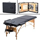 2'' Pad 84'' Black Massage Table Free Carry Case Bed Spa Facial