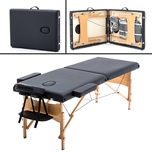 "Price comparison product image 2"" Pad 84"" Black Massage Table Free Carry Case Bed Spa Facial"