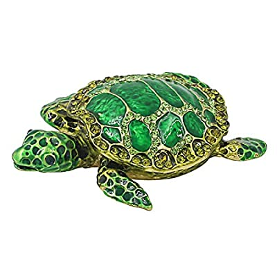 Hophen Christmas Green Sea Turtle Figurine Collectible Hinged Jewelry Trinket Box Bejeweled Hand-Painted Ring Holder Mother`s Day Gift