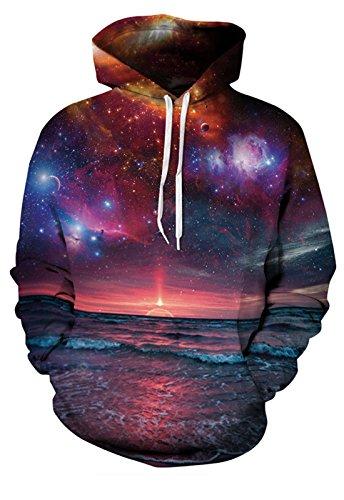 QingLemon Teen Boys' Galaxy Fleece Sweatshirts Pocket Pullover Hoodies (071, S/M)