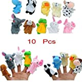 Puppet - 10pcs Different Cartoon Animal Finger Puppets Soft Velvet Dolls Props Toys for Children, Shows, Playtime, and Schools - Novelty Educational Toys for Baby Story Time By Shuban