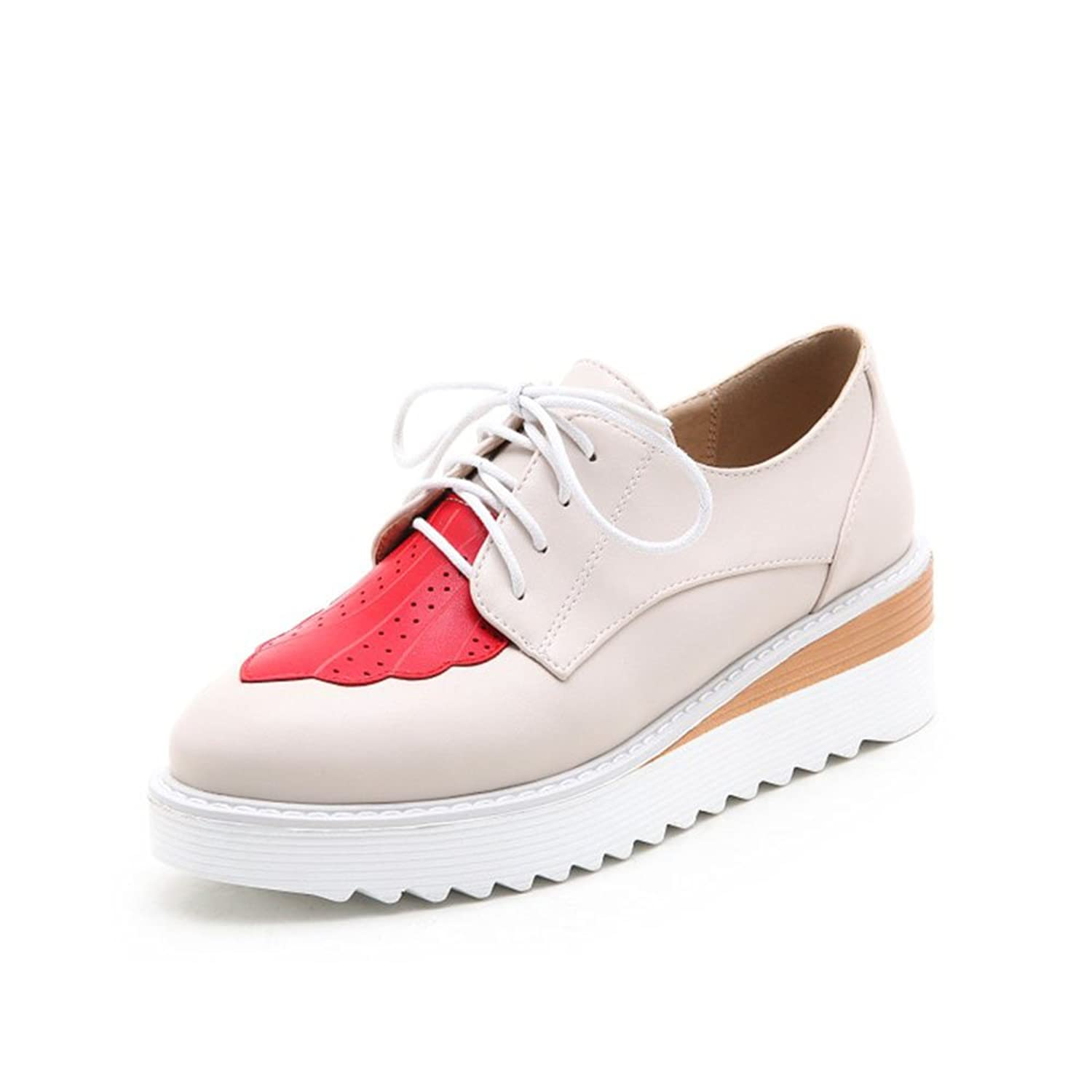 POP Style POPSTYLE Women Platform Lace-Up Wingtips Pointed Toe Oxfords Shoes Beige 8