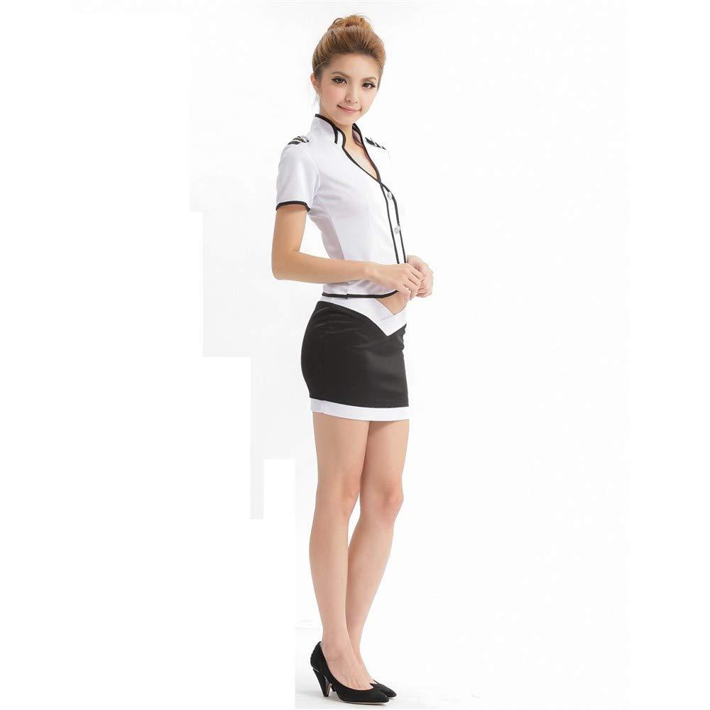Top ShishangBolsa de lencería sexy con falda de cadera con sexy cuello bajo dividida azafata uniforme juego de rol discoteca, blanco 548aa3