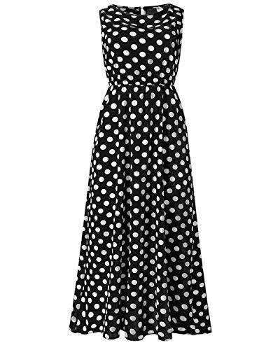 Salamola Women's Polka Dot Round Neck Sleeveless Boho Maxi Dresses Female Sundresses(Black,X-Large) ()