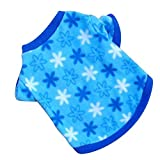 Haogo Pet Puppy Shirt Clothes Polar Fleece Snowflake Printed Vest T shirt for Small Dog Pet Blue