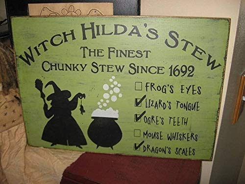 weewen Witch Hildas Stew Wall Hanging Halloween Wicca Wiccan Cabin Wall Decor Plaques Sign Home Sign -