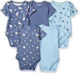 Hanes Ultimate Baby Flexy 5 Pack Short Sleeve Bodysuits, Sky, 6-12 Months