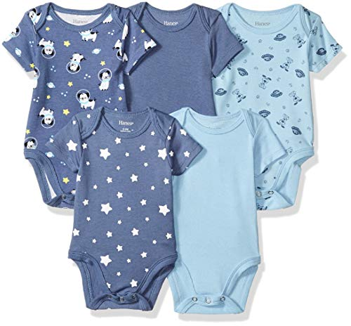 Hanes Ultimate Baby Flexy 5 Pack Short Sleeve Bodysuits, Sky, 18-24 Months ()