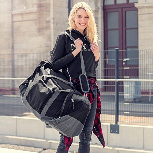 TecTake Sporttasche Reisetasche Umhängetasche Trainingstasche mit Trageriemen 70 x 35 x 35cm schwarz