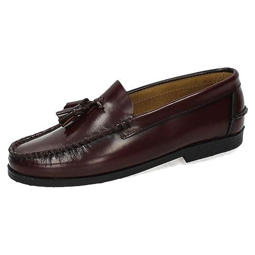 MADE IN SPAIN 213B Mocasines DE Piel NIÑO Zapatos MOCASÍN Burdeos 29