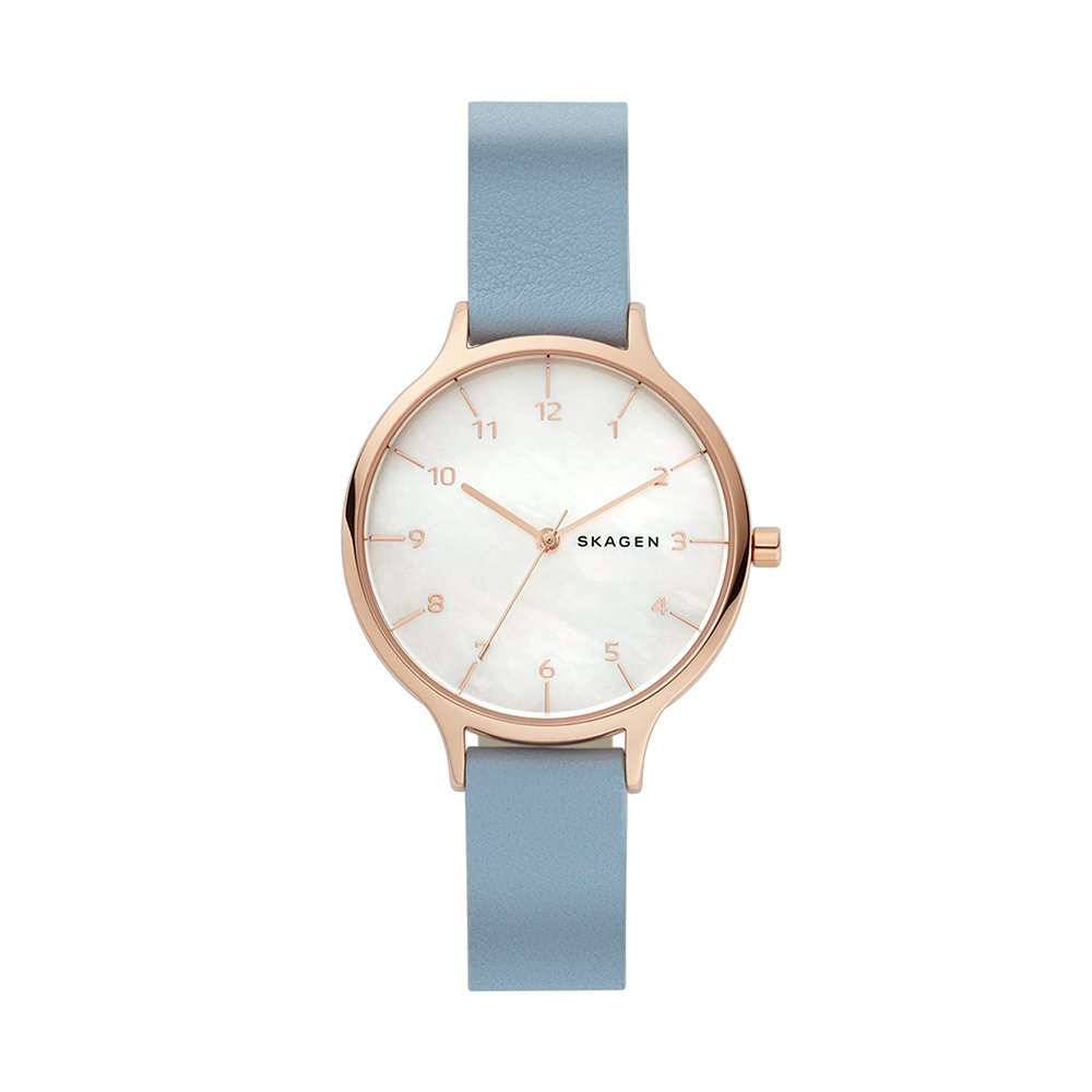 Skagen Women's Quartz Stainless Steel and Leather Casual Watch, Color:Blue (Model: SKW2703)