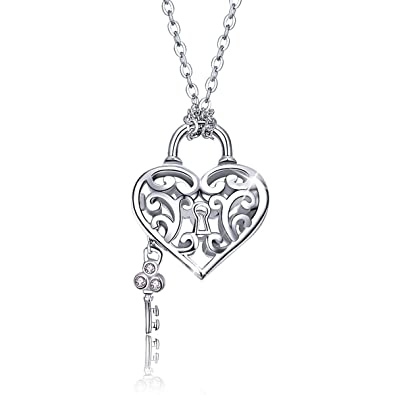 """6f79284e53 SIMPLOVE 925 Sterling Silver Engraved Flowers Heart Locket Necklace for  Women 17"""""""