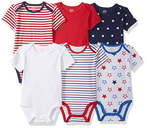 Amazon Essentials Baby 6-Pack Short-Sleeve Bodysuit, Uni Americana, 6-9M