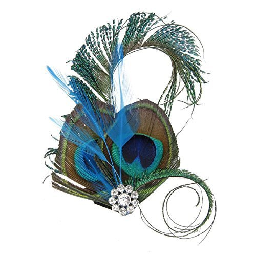 - Tinksky Feather Headpiece Crystal Rhinestone Peacock Feather Dish Hair Clip Dance Wedding Hairpin Wedding Supplies Fancy Dress Party Dress-up Accessories, Christmas Gift