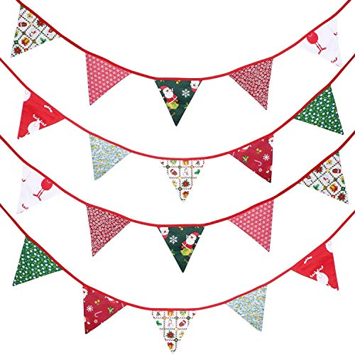 Boao 33 Feet Christmas Fabric Banner Bunting 30 Double-Sided Triangle Christmas Pennant Flags in 10 Different Style Patterns for Christmas Holiday Winter Birthday Party Photo Prop