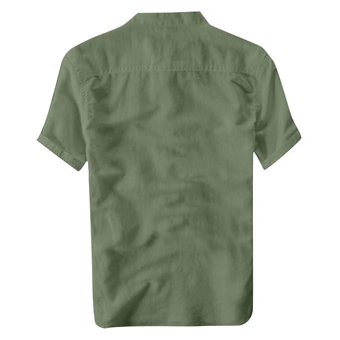 Sannysis Herren Leinenhemd Freizeithemd Leichte Hemd Kurzarm T-Shirt Slim Fit Poloshirt Button Stehkragen Casual Leinen Shirt Streetwear Oberteile M/änner Sommer M, Khaki