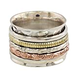 NOVICA .925 Sterling Silver Copper Brass Spinner Meditation Ring 'Five Delights'