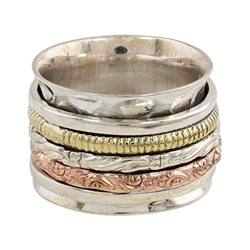 NOVICA .925 Sterling Silver Copper Brass Spinner Meditation Ring 'Five Delights' ()