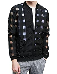 Gocgt Men's Zipper Top Mesh Sexy Long Sleeve T Shirt Hooded See Through Jacket