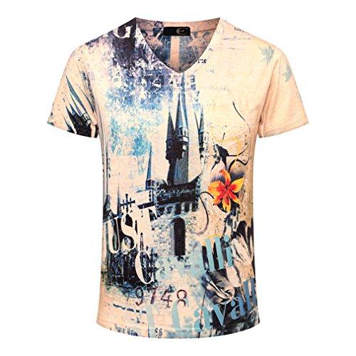 Men's V-Neck Tee With Design Number & Castle T-Shirt -