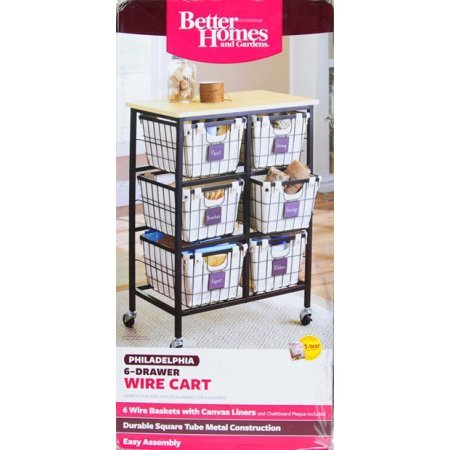 Better Homes and Gardens 6-Drawer Wire Cart Easy Assembly, Black
