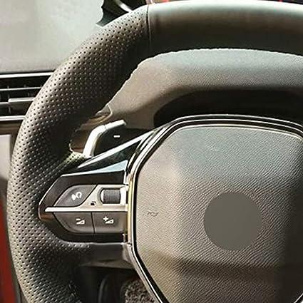 FANGPAN Couvre Volant de Voiture en Cuir Artificiel pour Peugeot 3008 4008 5008 2016-2019 508 208 2019 2020 e-208 2020