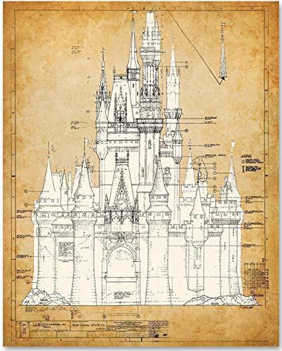 Cinderella's Castle - 11x14 Unframed Blueprint - Great Gift for Disney Fan -