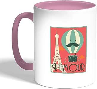 كوب سيراميك للقهوة بتصميم حب باريس ، لون بنك