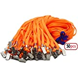 50pcs Orange Lanyard Clip Bulk 32-inch Neck Flat Woven Cotton Lanyard with Bulldog Clips Orange Lanyards for id Badges