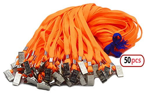 50pcs Orange Lanyard Bulk with Badge Clip 32-inch Neck Flat Cotton Woven Badge Lanyards Bulldog Clips Orange Lanyards for id Badges by Antspirit