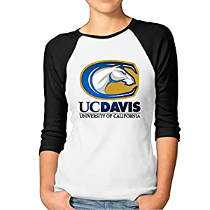 JUN Women's 3/4 Sleeve University Of California Davis Running Short Tee Black S