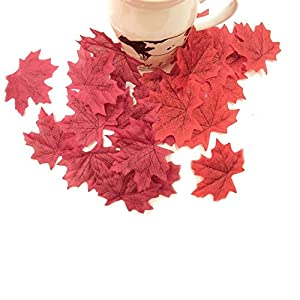 COSYWORLD 400 Assorted Mixed Fall Colored Artificial Maple Leaves for Weddings, Events and Decorating 2