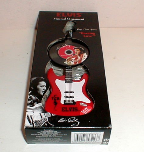 Elvis Presley Red Musical Light Up Guitar Christmas Ornament w/ Record - Plays