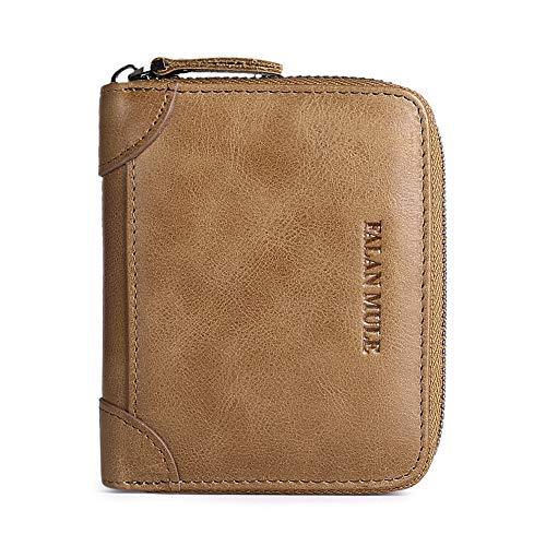 FALAN MULE Wallets For Men Genuine Leather Short RFID Blocking Zip-around Bifold Wallet?Khaki?