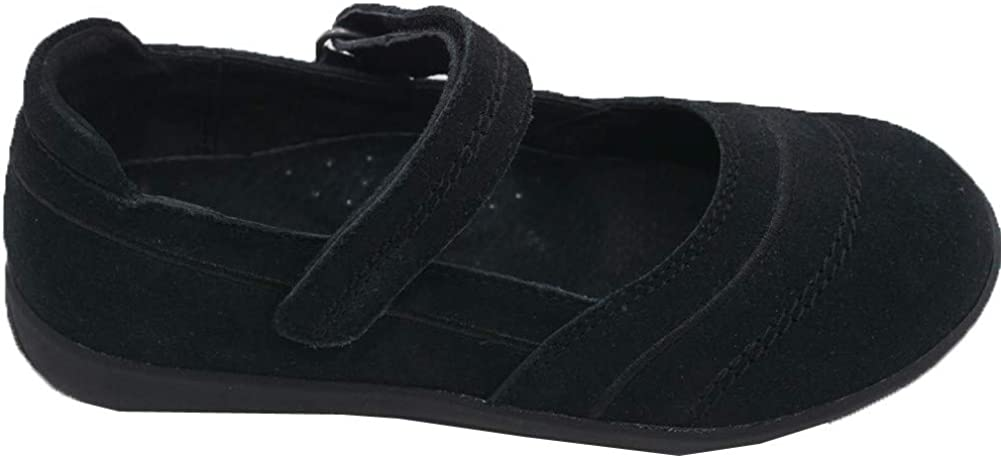 LAmour Little Girls Black Sporty Nubuck Leather Mary Jane Shoes 5-10 Toddler