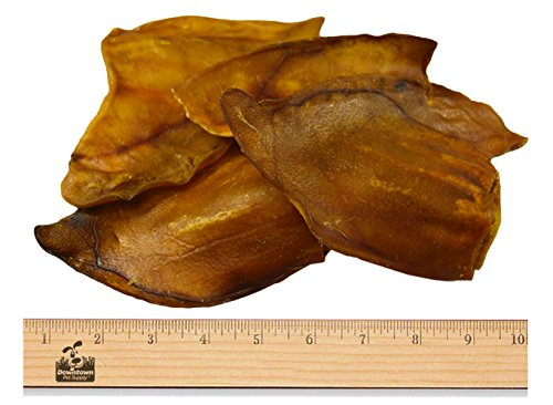100% Natural, JUMBO Pig Ears, FDA & USDA Certified, Dog Treats Chew, (Size: 10 Pack), by Downtown Pet Supply (TM)