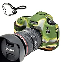 First2savv XJPT-5D3GJ-06G14 green Rubber Camera Case Bag full cover for Canon EOS 5D Mark III . 5D Mk3 . 5DS . 5DSR .5DR + anti-lost rope