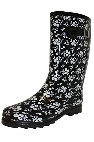 Print Wellies Ladies Lenght Snow Calf Flower Wellington Welly Boots Festival Rain 7xqSXfB