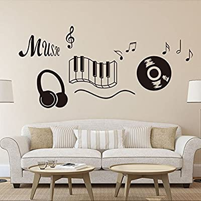 """Dnven (28""""w X 24""""h) New Design Music Notes Keyboard Headphone Record Wall Stickers Quotes Vinyl Wall Decals Decors Art Stickers for Couple Room Kids Room Bedrooms Music Rooms"""
