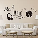DNVEN (28''w X 24''h) New Design Music Notes Keyboard Headphone Guitar Record Wall Stickers Quotes Vinyl Wall Decals Decors Art Stickers for Couple Room Kids Room Bedrooms Music Rooms