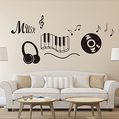 DNVEN  New Design Music Notes Keyboard Headphone Guitar Reco