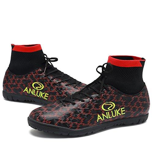 ANLUKE Mens Football Black TF Hightop Boots Shoes Soccer Training Red rvFdYwxv