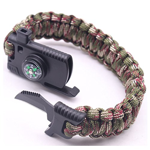 Knife Bravo Rescue (Cajoy Camping Paracord Survival Bracelet Emergency Kit 5-in-1 Compass Fire Starter Knife Whistle Rescue Rope (Camouflage))